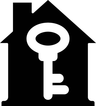 Black House with key icon isolated on white background. The concept of the house turnkey. Vector.