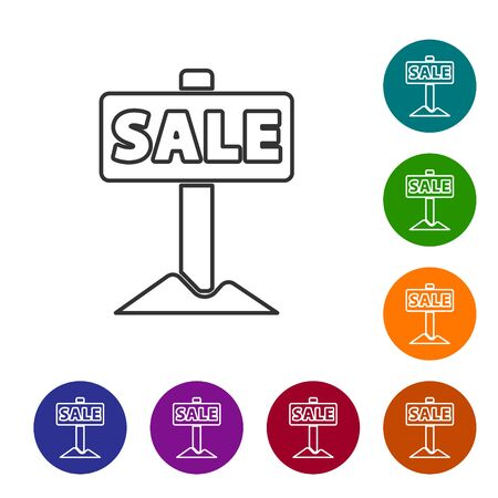Black line Hanging sign with text Sale icon isolated on white background. Signboard with text Sale. Set icons in color circle buttons. Vector