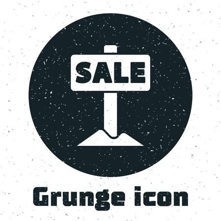 Grunge Hanging sign with text Sale icon isolated on white background. Signboard with text Sale. Monochrome vintage drawing. Vector
