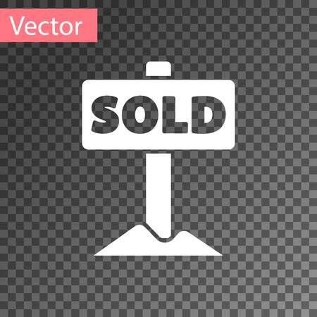 White Hanging sign with text Sold icon isolated on transparent background. Sold sticker. Sold signboard.  Vector.