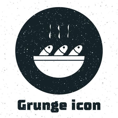 Grunge Fish soup icon isolated on white background. Monochrome vintage drawing. Vector.