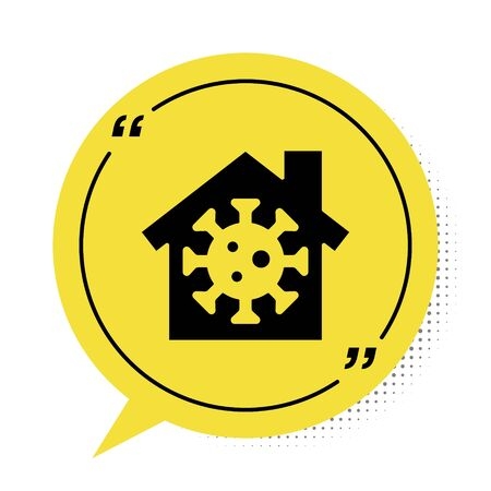 Black Stay home icon isolated on white background. Corona virus 2019-nCoV. Yellow speech bubble symbol. Vector.