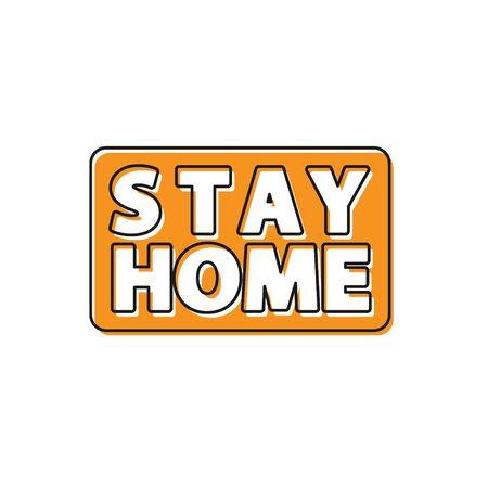 Orange Stay home icon isolated on white background. Corona virus 2019-nCoV. Vector.