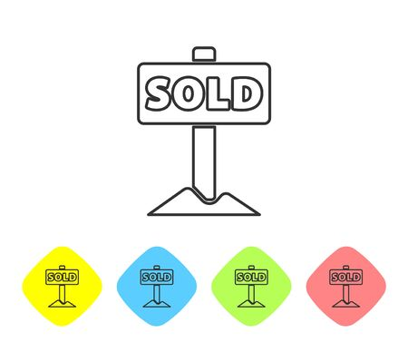 Grey line Hanging sign with text Sold icon isolated on white background. Sold sticker. Sold signboard. Set icons in color rhombus buttons. Vector
