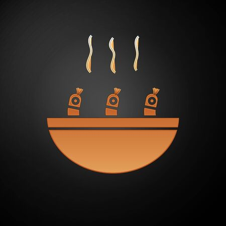 Gold Soup with shrimps icon isolated on black background. Tom yum kung soup. Vector.