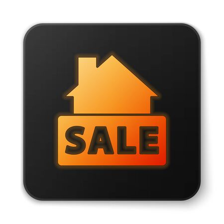 Orange glowing neon Hanging sign with text Sale icon isolated on white background. Signboard with text Sale. Black square button. Vector Vectores
