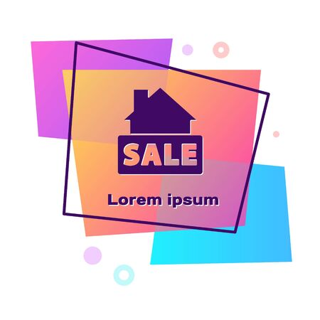 Purple Hanging sign with text Sale icon isolated on white background. Signboard with text Sale. Color rectangle button. Vector Vectores
