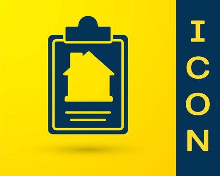 Blue House contract icon isolated on yellow background. Contract creation service, document formation, application form composition. Vector Ilustrace
