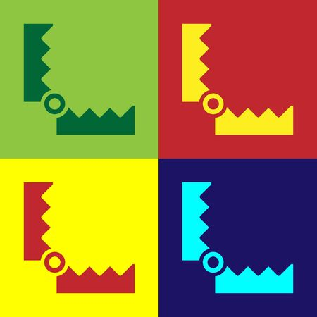 Pop art Trap hunting icon isolated on color background. Vector. 向量圖像