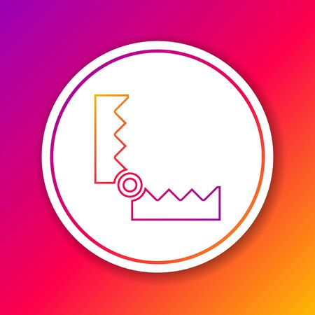 Color line Trap hunting icon isolated on color background. Circle white button. Vector.