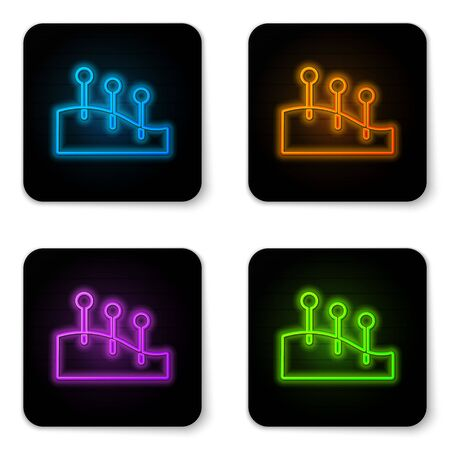 Glowing neon Acupuncture therapy icon isolated on white background. Chinese medicine. Holistic pain management treatments. Black square button. Vector