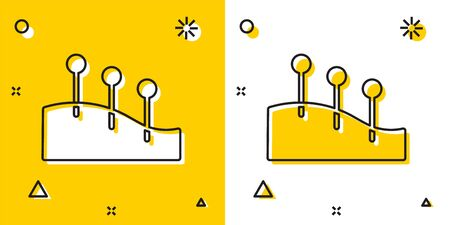 Black Acupuncture therapy icon isolated on yellow and white background. Chinese medicine. Holistic pain management treatments. Random dynamic shapes. Vector