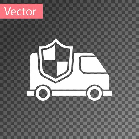 White Car with shield icon isolated on transparent background. Insurance concept. Security, safety, protection, protect concept. Vector.