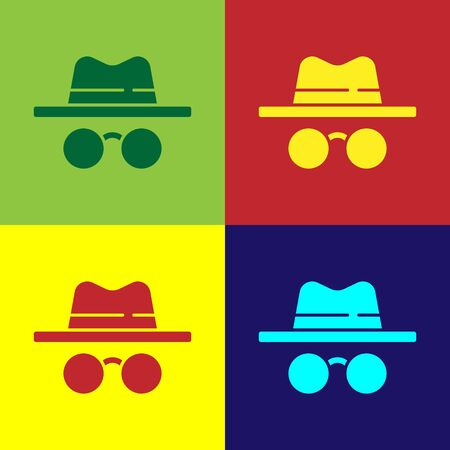 Pop art Incognito mode icon isolated on color background. Vector