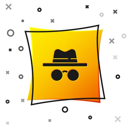Black Incognito mode icon isolated on white background. Yellow square button. Vector