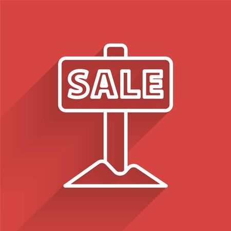 White line Hanging sign with text Sale icon isolated with long shadow. Signboard with text Sale. Vector