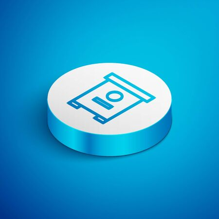 Isometric line Hive for bees icon isolated on blue background. Beehive symbol. Apiary and beekeeping. Sweet natural food. White circle button. Vector