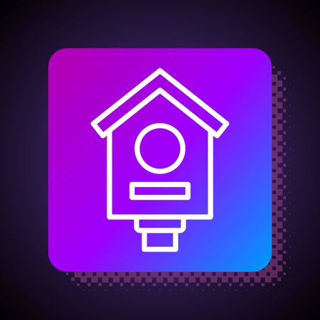 White line Bird house icon isolated on black background. Nesting box birdhouse, homemade building for birds. Square color button. Vector Illustration