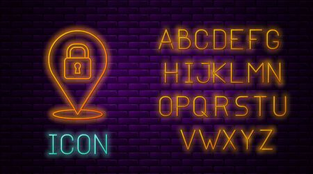 Glowing neon line Location lock icon isolated on brick wall background. The concept of the house turnkey. Neon light alphabet. Vector