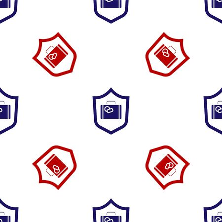 Blue and red Travel suitcase with shield icon isolated seamless pattern on white background. Traveling baggage insurance. Security, safety, protection, protect concept. Vector.