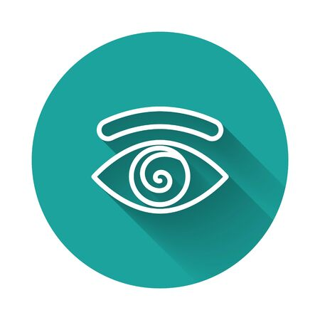 White line Hypnosis icon isolated with long shadow. Human eye with spiral hypnotic iris. Green circle button. Vector