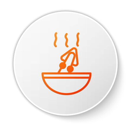 Orange line Soup with octopus icon isolated on white background. White circle button. Vector.. Çizim