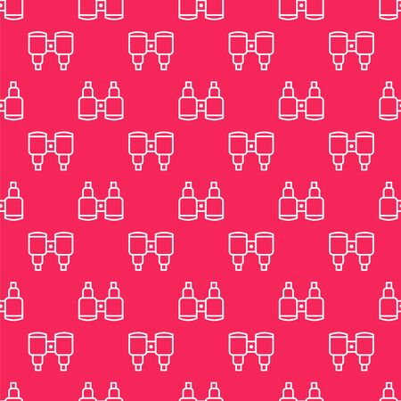White line Binoculars icon isolated seamless pattern on red background. Find software sign. Spy equipment symbol. Vector Ilustração