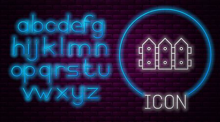 Glowing neon line Garden fence wooden icon isolated on brick wall background. Neon light alphabet. Vector