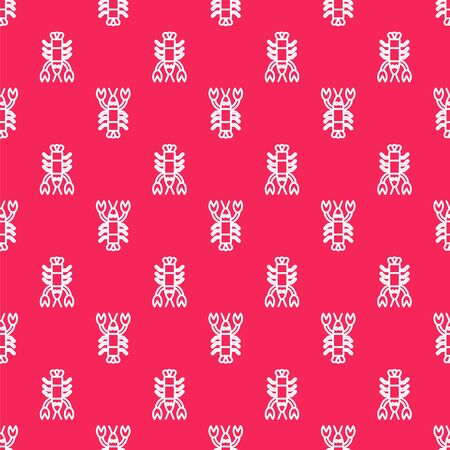 White line Lobster icon isolated seamless pattern on red background. Vector.. Çizim