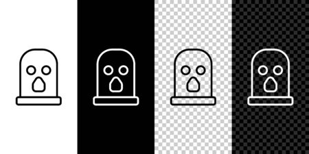Set line Balaclava icon isolated on black and white background. A piece of clothing for winter sports or a mask for a criminal or a thief. Vector Illustration