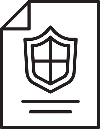 Black line Contract with shield icon isolated on white background. Insurance concept. Security, safety, protection, protect concept. Vector. 矢量图像
