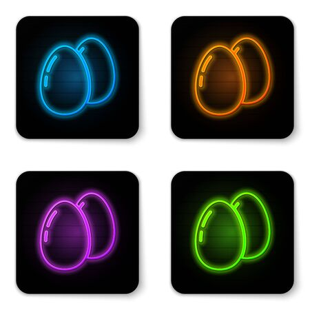 Glowing neon Chicken egg icon isolated on white background. Black square button. Vector