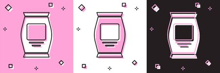 Set Fertilizer bag icon isolated on pink and white, black background. Vector