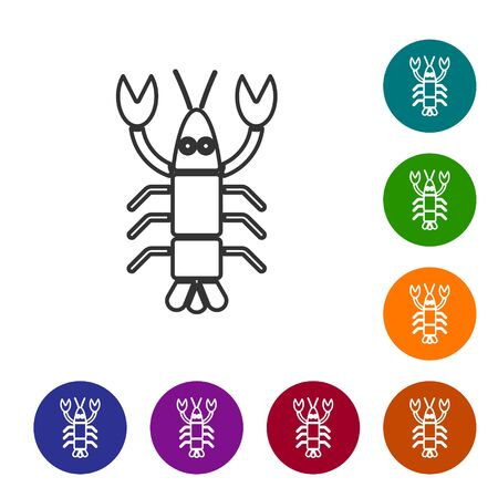 Black line Lobster icon isolated on white background. Set icons in color circle buttons. Vector.