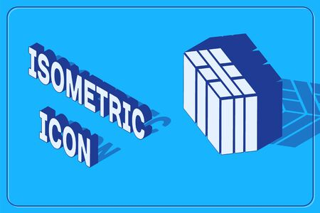 Isometric Bale of hay icon isolated on blue background. Vector