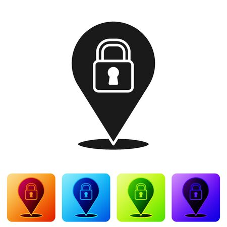 Black Location lock icon isolated on white background. The concept of the house turnkey. Set icons in color square buttons. Vector
