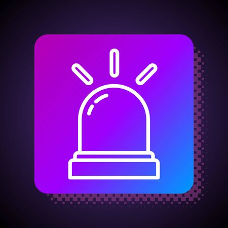 White line Motion sensor icon isolated on black background. Square color button. Vector Illustration