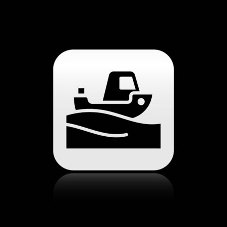 Black Fishing boat on water icon isolated on black background. Silver square button. Vector
