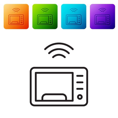 Black line Smart microwave oven system icon isolated on white background. Home appliances icon. Internet of things concept with wireless connection. Set icons in color square buttons. Vector 向量圖像