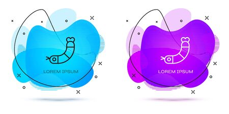 Line Shrimp icon isolated on white background. Abstract banner with liquid shapes. Vector. Çizim