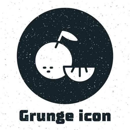 Grunge Citrus fruit icon isolated on white background. Orange in a cut. Healthy lifestyle. Monochrome vintage drawing. Vector. Ilustração