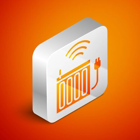Isometric Smart heating radiator system icon isolated on orange background. Internet of things concept with wireless connection. Silver square button. Vector