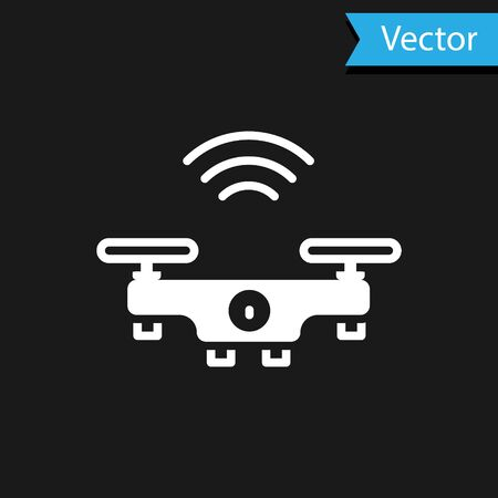 White Smart drone system icon isolated on black background. Quadrocopter with video and photo camera symbol. Vector