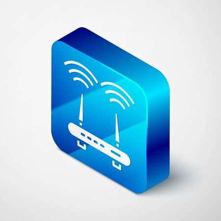 Isometric Router and wifi signal icon isolated on grey background. Wireless modem router. Computer technology internet. Blue square button. Vector