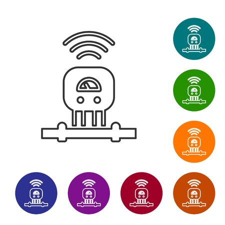 Black line Smart sensor system icon isolated on white background. Internet of things concept with wireless connection. Set icons in color circle buttons. Vector Illustration