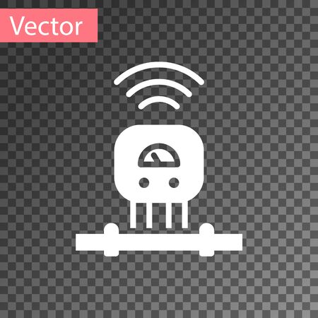 White Smart sensor system icon isolated on transparent background. Internet of things concept with wireless connection. Vector