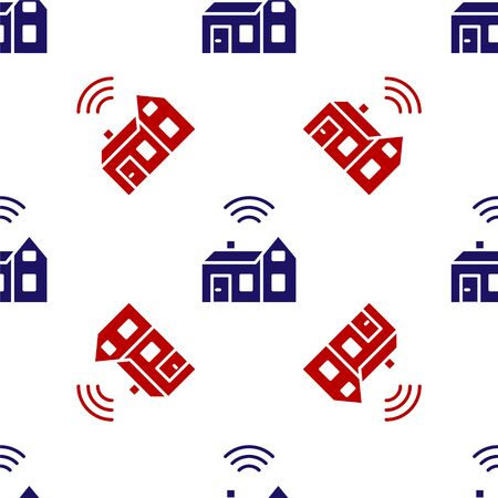 Blue and red Smart home with wireless icon isolated seamless pattern on white background. Remote control. Internet of things concept with wireless connection. Vector