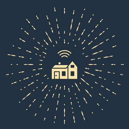 Beige Smart home with wireless icon isolated on blue background. Remote control. Internet of things concept with wireless connection. Abstract circle random dots. Vector Иллюстрация