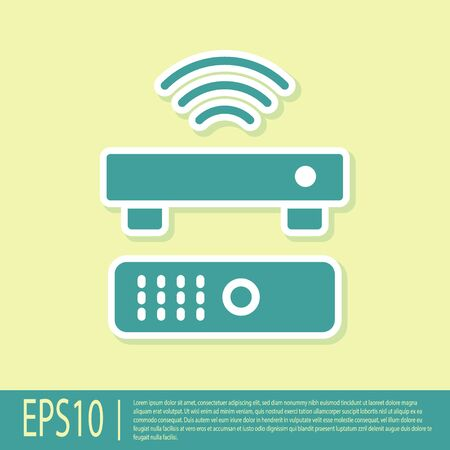 Green Wireless multimedia and TV box receiver and player with remote controller icon isolated on yellow background. Vector Иллюстрация