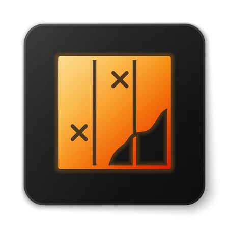 Orange glowing neon Folded map icon isolated on white background. Black square button. Vector